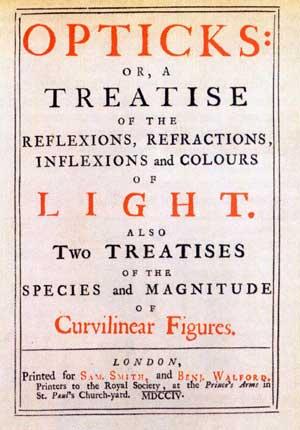 """Фронтиспис книги """"Оптика"""" И.Ньютона. Лондон, 1704 г."""