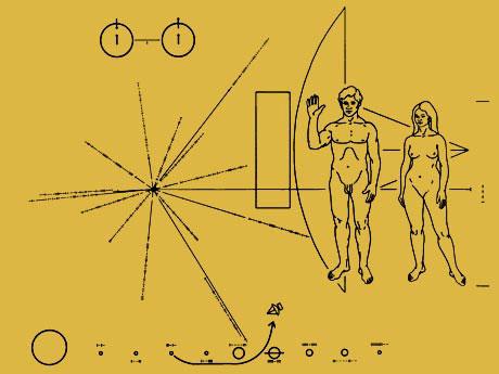 """Пластина с пиктограммой на борту """"Пионера-10""""."""