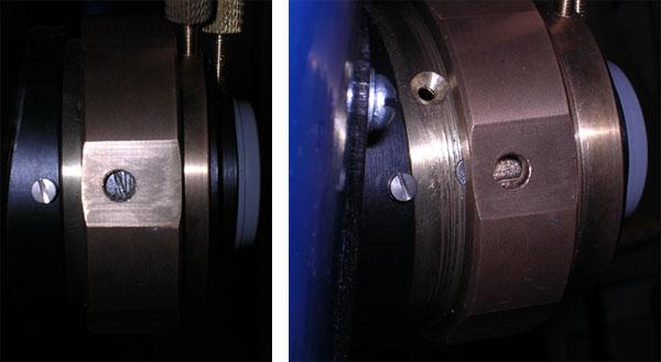 Фокусер после переделки, виден фрезерованный паз и фиксирующий винт, а также отверстие, через которое он был закручен.