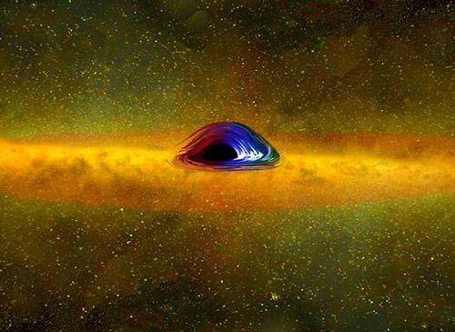 Вещество вблизи черной дыры, иллюстрация с сайта mpg.de