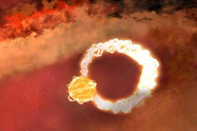 Сверхмощная рентгеновская вспышка на Солнце, рисунок с сайта universetoday.com
