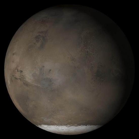 Марс и его южная полярная шапка. Фото с сайта Ames Research Center
