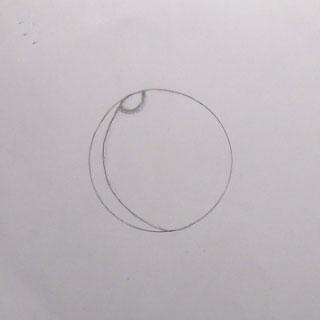Начало обработки рисунка. Нанесение на изображение диска планеты контуров Полярной Шапки