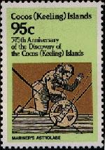 Морская астролябия на марке Кокосовых островов