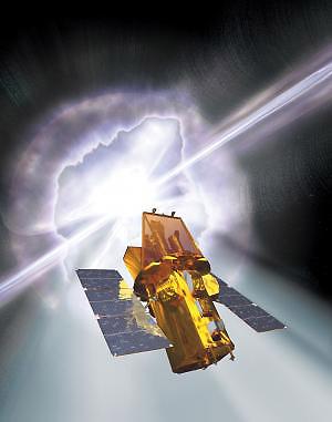 Новый спутник на фоне вспышки. Точная природа сверхсильных гамма-взрывов неизвестна, есть лишь ряд предположений.