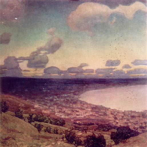 """Картина А.Васнецова """"Надвигающаяся на Феодосию лунная тень. 1914 г."""