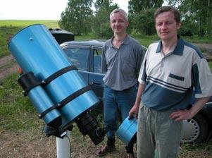 Братья Антон и Алексей Савельевы с 250-мм телескопом Ричи-Кретьена