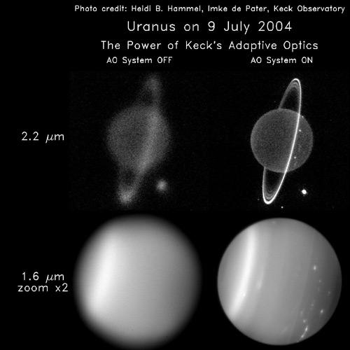 Снимок слева с выключенной системой адаптивной оптики, справа - со включенной.