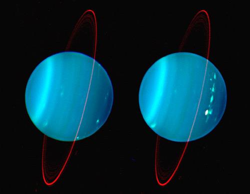 Облачная структура обоих полушарий Урана в инфракрасных лучах.